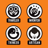 Everyone is unique. Conceptual set of creative cartoon emoticon icons; vector print illustration of different human types and personality, traveler, inventor Stock Photo