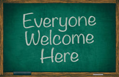 Everyone Welcome Here on Chalkboard Royalty Free Stock Image
