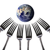 Everyone will be looking to feed the world, Silver fork with wor Stock Photo