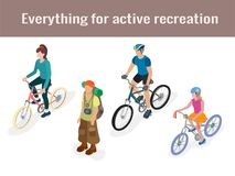Tourist and cyclists in isometric vector illustration 3d Stock Photos