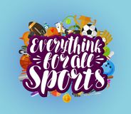 Everything for all sports, banner. Fitness, sport, gym concept. Lettering vector illustration Royalty Free Stock Photo