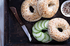 Everything bagels with cream cheese and cucumber Stock Image