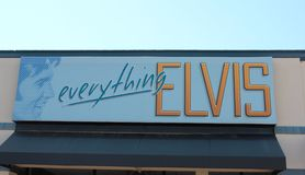 Everything Elvis Presley's Sign on display at Graceland. Everything Elvis Presley Sign located at the Elvis Aaron Presley Rock and Roll Museum in Memphis Royalty Free Stock Photography