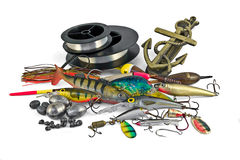 Everything for fishing. Assortment of lures, hooks, and other fisherman stuff royalty free stock photos