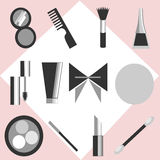 Everything a Girl Needs. Set of beauty and make-up - related objects vector illustration