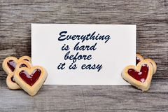Everything is hard before it is easy. Text on paper Royalty Free Stock Image