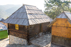Everything is made of wood range in Drvengrad Kusturica, Serbia royalty free stock photos