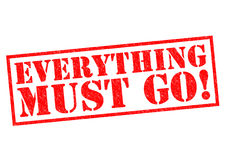 EVERYTHING MUST GO!. Red Rubber Stamp over a white background Royalty Free Stock Photos