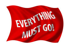Everything must go sale flag. Sale, everything must go flag billowing in the wind. White on red Stock Image