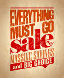 Everything must go sale retro poster. Stock Photo
