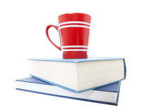 Text Books and Coffee Mug Stock Photography