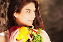 Everything she needs for her new and healthier diet Royalty Free Stock Image