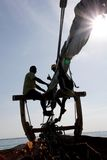 Everything is OK!. Crew on sailing ship in silhouette: everything is OK stock photos
