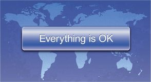 Everything is Ok button for web sites and print. Everything is Ok button on the background of the world map for web sites and print vector illustration