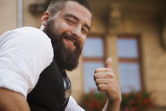 Everything is Okay. Hipster man showing that all is well. Gestur Stock Photos