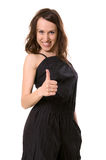 Everything perfect. Smiley woman showing thumbs up Royalty Free Stock Image