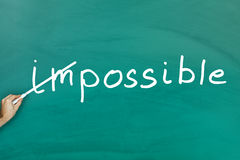 Everything is possible concept. On green blackboard Royalty Free Stock Images
