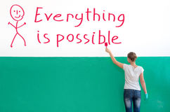 Everything is possible. On the white wall with paint write Everything is possible Stock Photo
