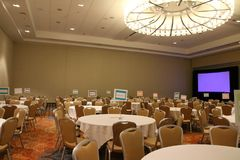 Everything is ready for the party to begin. The banquet room is decorated and the festivities will soon begin stock photo