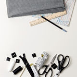 Everything for sewing in black and white. Fabric and thread, zip Stock Photo