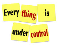Everything is Under Control Sticky Notes Saying Message Royalty Free Stock Photos