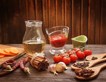 Everything on wood table for cooking Royalty Free Stock Image
