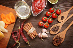 Everything on wood table for cooking Royalty Free Stock Photo