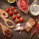 Everything on wood table for cooking Royalty Free Stock Images