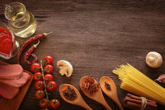 Everything on wood table for the preparation of acute Italian sa Royalty Free Stock Photo