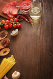 Everything on wood table for the preparation of acute Italian sa Royalty Free Stock Photography