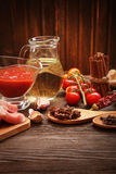 Everything on wood table for the preparation of acute Italian sa Stock Photography