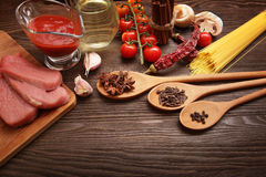 Everything on wood table for the preparation of acute Italian sa Stock Photo