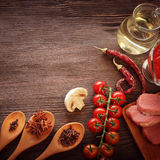 Everything on wood table for the preparation of acute Italian sa Stock Images