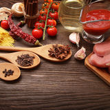 Everything on wood table for the preparation of acute Italian sa Royalty Free Stock Image