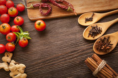 Everything on wood table for the preparation Royalty Free Stock Photos