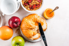 Everything you need for easy and a wholesome breakfast: croissan Stock Photography