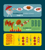 Everything you need for a picnic. Set of Barbecue Grill. Vector Flat Illustration Stock Photography