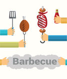 Everything you need for a picnic. Set of picnic icons. Vector Flat Illustration Stock Photos