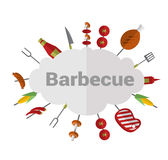 Everything you need for a picnic. Set of picnic icons. Vector Flat Illustration Stock Image