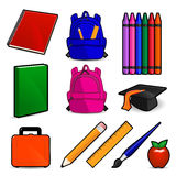 Everything You Need for School. Collection of illustrated school items including notebooks, backpacks, crayons, book, diploma cap, apple, pencil, ruler, paint vector illustration