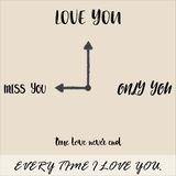 Everytime I love you word with time concept. Vector - Everytime I love you word with time concept stock illustration