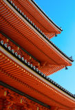 Eves and roof tile ends on the famous three-story pagoda at Kizomizu-dera in Kyoto Stock Photo