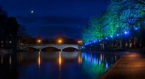 Evesham-Fluss-Avon-Nachtzeit stockbilder