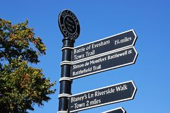 Evesham tourist information sign. Stock Photos
