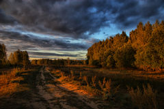 Evevning landscape. The road through field. Autumn landscape. Russia stock images