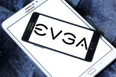 EVGA Corporation logo. Logo of EVGA Corporation on samsung mobile. EVGA Corporation is an American computer hardware company that produces Nvidia GPU based video Stock Photo