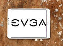 EVGA Corporation logo. Logo of EVGA Corporation on samsung tablet on wooden background. EVGA Corporation is an American computer hardware company that produces Royalty Free Stock Images