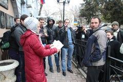Evgenia Chirikova and other ecologists meet Suren Gazaryan Stock Image