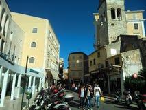 Evgeniou Voulgareos street. In Corfu town, Greece Royalty Free Stock Photos