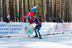 Evgeniy Garanichev (RUS) στο μέγα μαζικό αστέρι 18 χλμ των ατόμων Biathlon Στοκ Εικόνες